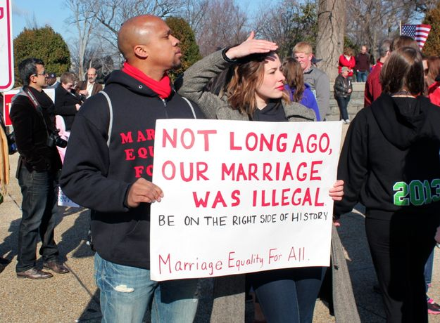 """""""Not long ago, our marriage was illegal. Be on the right side of history['s justice progress.] Marriage Equality For All."""""""