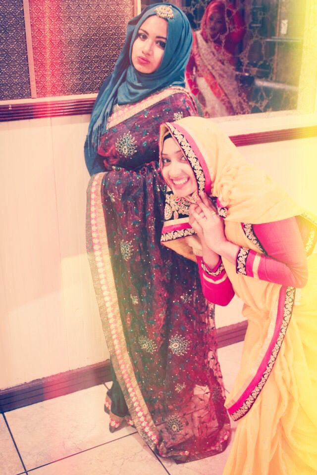 Mehendi and holud combination sarees and hijab