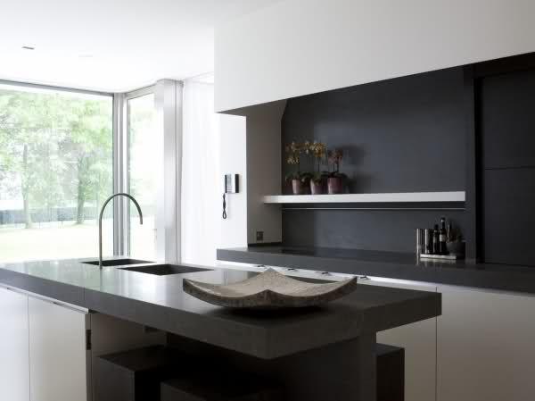 Modern Kitchen. Love the black.
