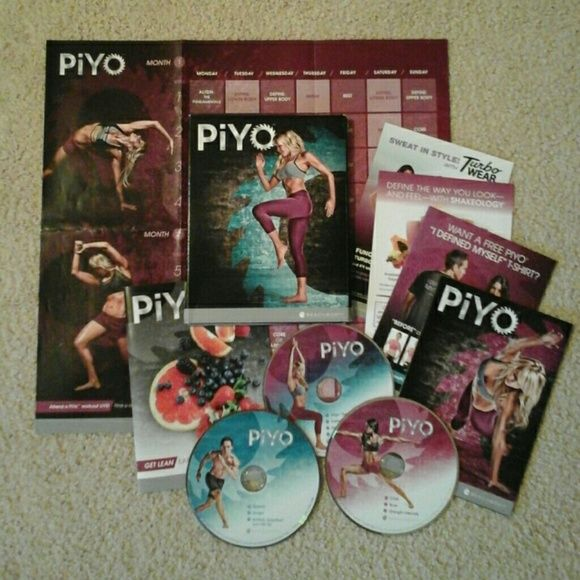 New Sealed PiYo DVD workout (Complete program) Using your body weight, you'll perform low-impact, high-intensity movements inspired by Pilates and yoga. With PiYo, you'll work every single muscle to stabilize, stretch, and strengthen every inch of your body.   This program includes:  10 WORKOUTS Quick Start Guide. PiYo 60-Day Workout Calendar.  Get Lean eating plan Tape Measure.  24/7 Online support   Please let me know if you have questions☺ Beach body  Other