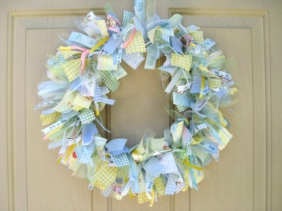 Newborn baby boy fabric wreath nursery decor new baby for Baby hospital door decoration