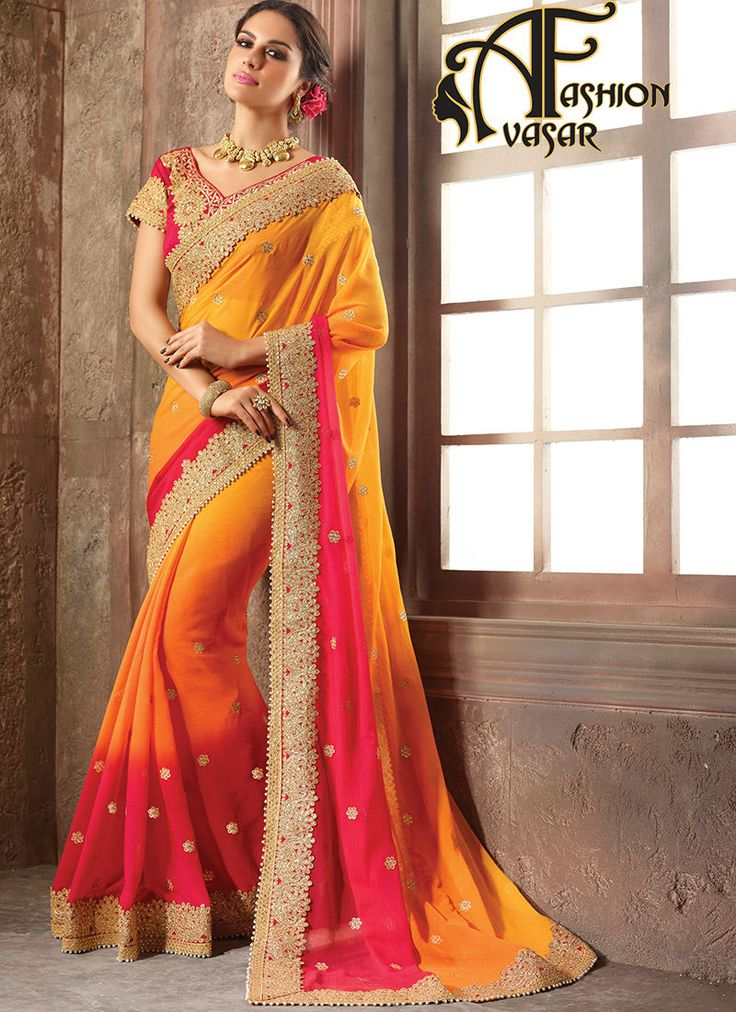 Pure Chiffon Sarees Online Shopping India Pink Orange Color.Make the heads turn after you costume up in this stunning Peach Puff & Crimson Chiffon Saree.