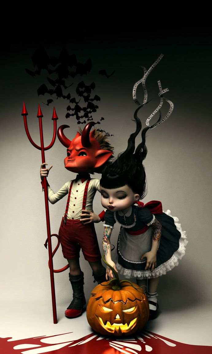 "woodsmokeandpumpkins:  ""Twisted Kids:  Children of the Pumpkin"" by SubversiveGirlArt"