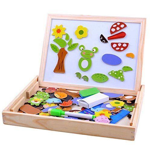 Fajiabao Fantastico Gioco in Legno Giocattolo di Puzzle con la lavagna Magnetico per Bambini di 3 Anni in su di Apprendimento Precoce Educazione