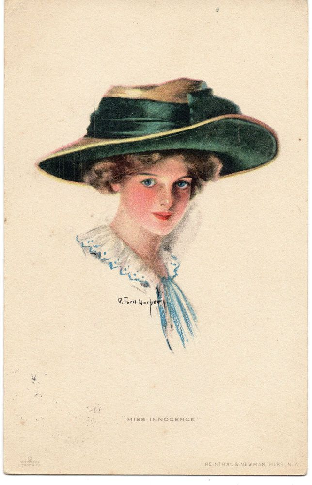 """Artist Signed Ruth Ford Harper: Glamour, Fashion, """"Miss Innocence"""" Posted 1919"""