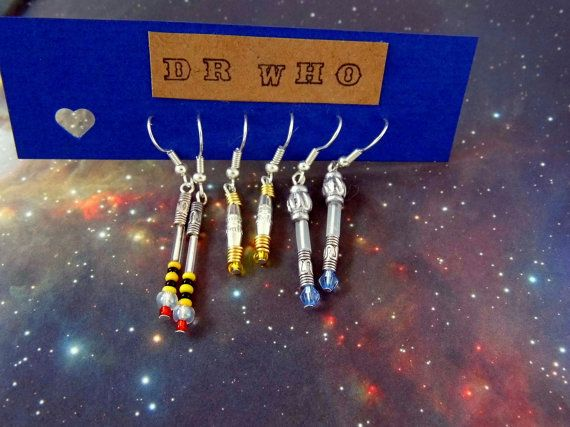 Dr Who Sonic Screwdriver Earrings Time Lord  Whovian 3 PACK