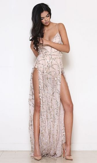 Push Back Beige Gold Sheer Mesh Sequin Spaghetti Strap Plunge V Neck Double Slit Maxi Dress