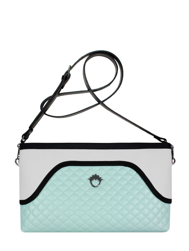 GOSHICO, ss2015, Flowerbag (clutch with belt), pastel mint + light grey. To download high or low resolution product images view Mondrianista.com (editorial use only).