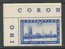 GB/UK 1937 GVI Coronation poster stamp/label (The Houses of Parliament)