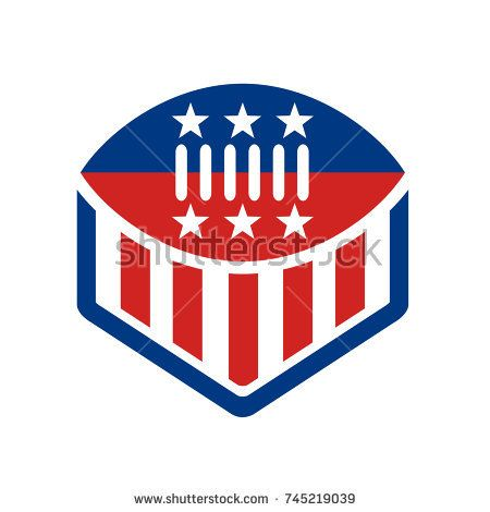 Icon style illustration of an American Football on top of crest shield with USA stars and stripes banner Flag isolated background.  #Americanfootball #icon #illustration
