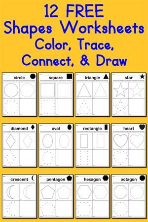 12 FREE Printable Shapes Worksheets: Color, Trace, Connect, & Draw