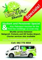 Tailored charter services from Nelspruit to any destination in South Africa link to request your quote:  http://www.limetimeshuttle.co.za/charter-services.htmlTailored charter services from Nelspruit to any destination in South Africa link to request your quote:  http://www.limetimeshuttle.co.za/charter-services.html