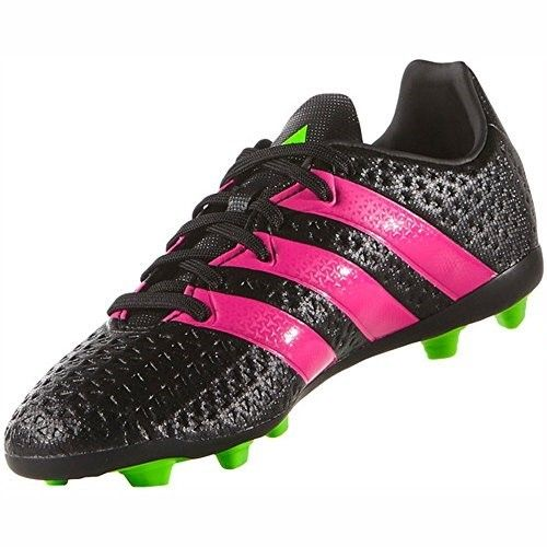 adidas Ace 16.4 FxG J Soccer Shoe (Toddler/Little Kid/Big Kid),Black/Shock Pink/Green,5 M US Big Kid