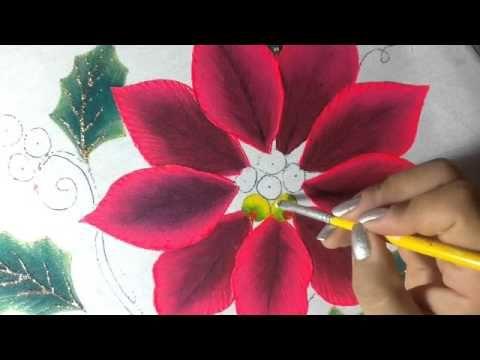 Pintura en tela nochebuena rosa # 2 con cony - YouTube