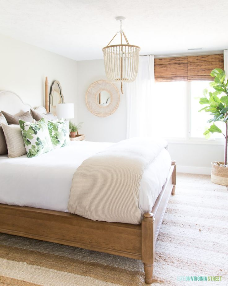 Neutral and Green Fall Guest Bedroom Blogger Home Projects We Love - rattan schlafzimmer komplett