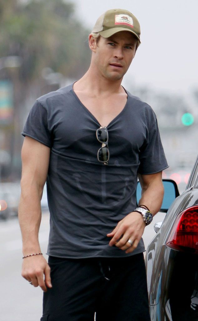 V-Neck from Chris Hemsworth's 32 Hottest Pics  Back in March 2013, Chris showed some skin getting a cup of coffee.