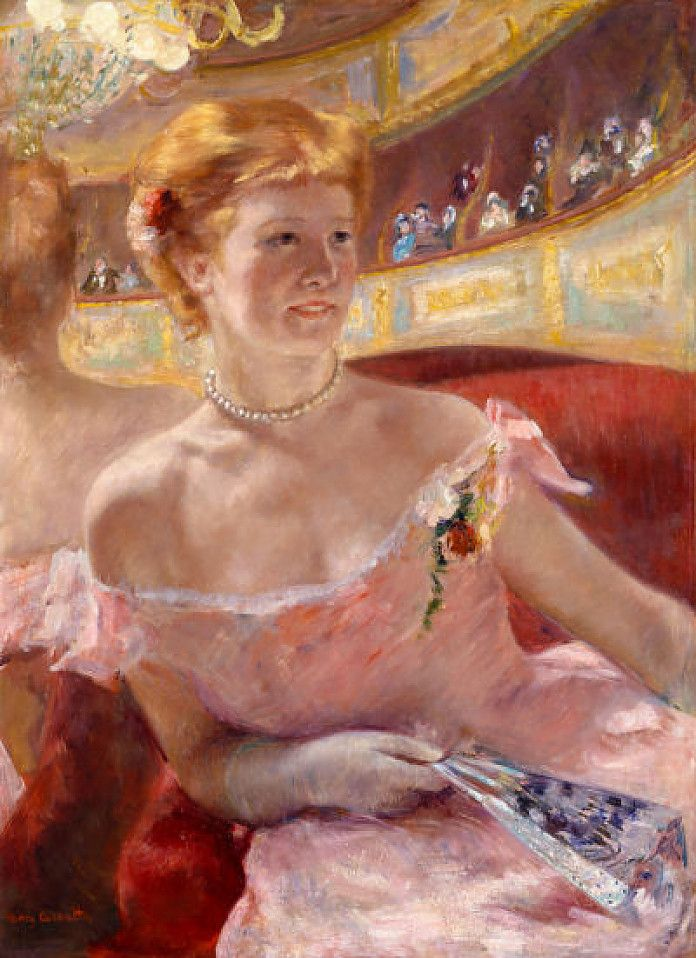 Mary Cassatt, Vrouw met parelketting in een loge (Engelse titel: Woman with a Pearl Necklace in a Loge, 1879, olieverf op doek, 81.3 x 59.7 cm, Philadelphia Museum of Art