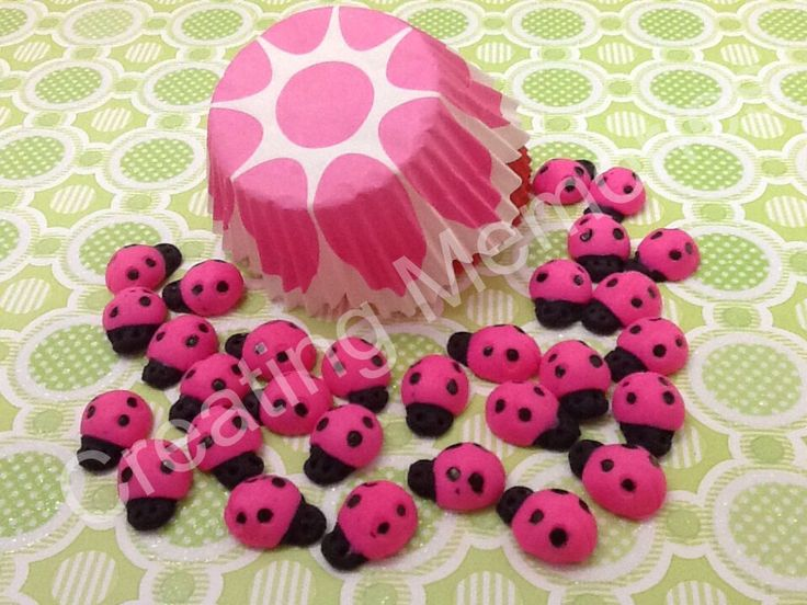 Pink Ladybugs Cupcake Topper/Cake Decorations/Cookies or Cake Pops made of Vanilla Fondant -You can Choose  the Color and Quantaty you need by anafeke on Etsy https://www.etsy.com/listing/169521839/pink-ladybugs-cupcake-toppercake