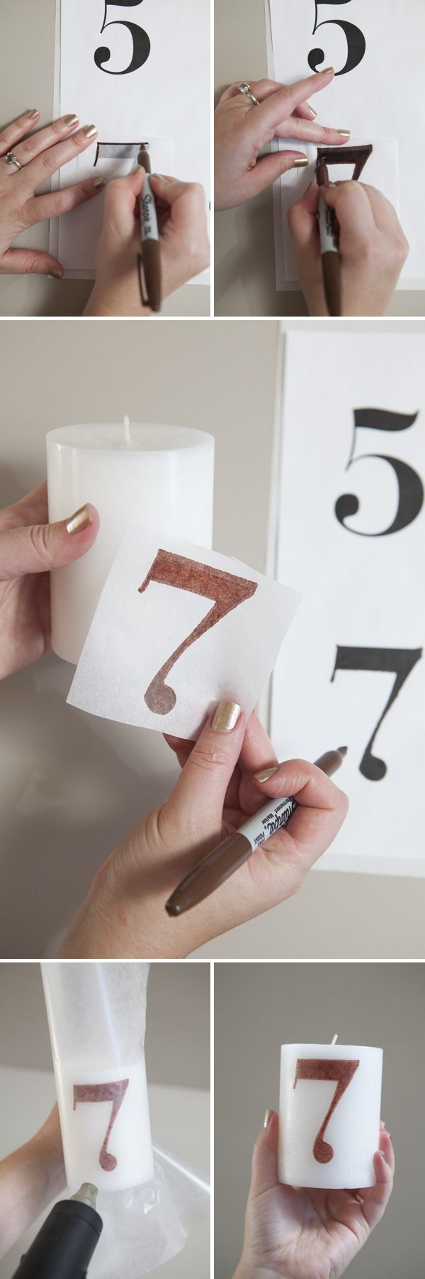 #DIYwedding ~ How to make a 'tissue paper transfer' candle table number! This technique is SO cool!