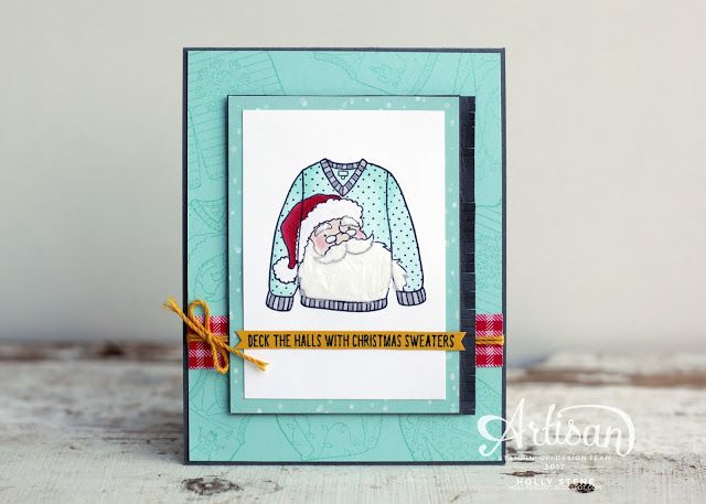 Holly's Hobbies: Hello Fancy Friday!  Add some Embossing Paste to Santa's beard for an extra detail! Christmas Sweaters from @stampinup