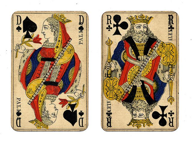 Vintage French playing cards. The queen (dame) of spades is associated with Pallas. The King (roi) of clubs is associated with Alexander the Great. From William Creswell on flickr.