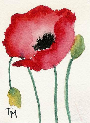 Poppy Series Collection--Collect one or collect them all! Watercolor on Paper ACEO Dimensions: 2.5 x 3.5 inches