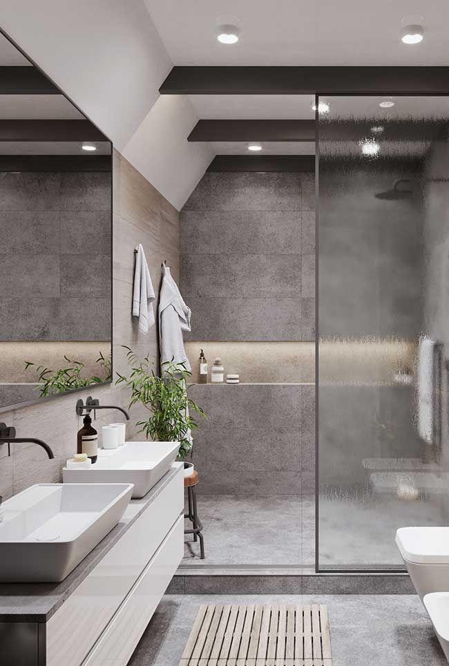 Banheiro Cinza Spa Bath Shower Em 2019 Ideias Para