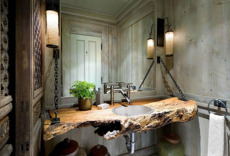 Bathroom. Amazing Rustic Bathroom Powder Room Natural Wood Vanity Design With Chains And Unique Wall Sconces.