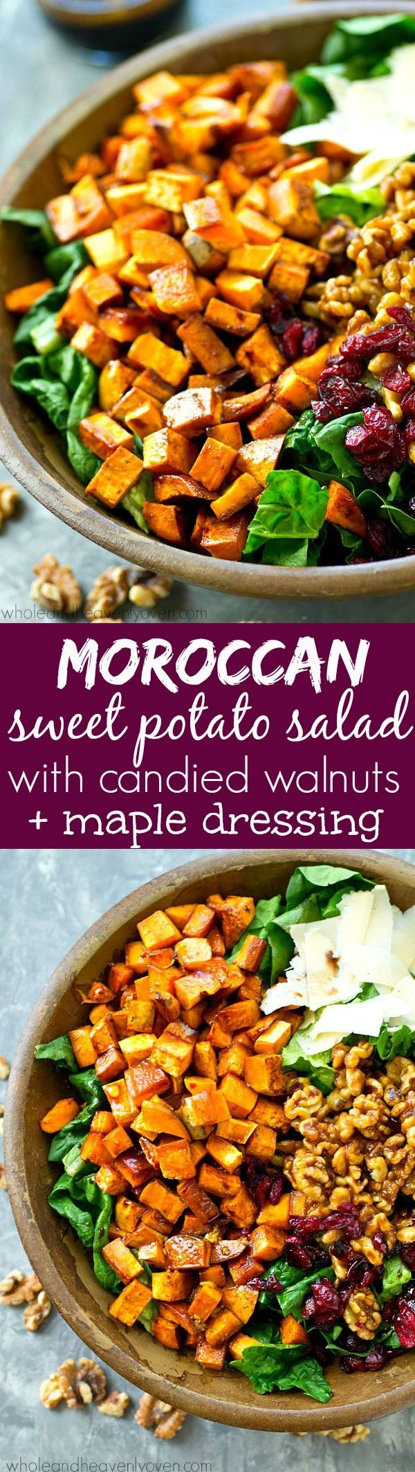 This fall harvest salad is piled high with spiced roasted sweet potatoes, sweet candied walnuts, and tossed in a tangy maple dressing for a gorgeous Thanksgiving salad you won't be able to get enough