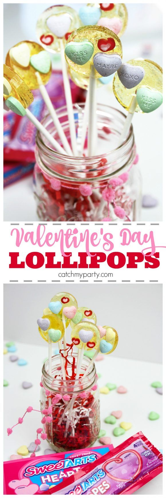 Homemade Valentine's Day SweeTART Lollipop Recipe!These are so easy to make and the perfect treat to give to friends, family, and classmates on Valentine's Day! I used @SweeTARTS Hearts and Soft & Chewy Ropes to make them. See more party ideas at CatchMyParty.com. #ad