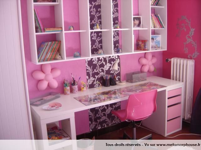 photos d coration de chambre b b enfant fille rose bonbon rose fuchsia de lapinou chambre. Black Bedroom Furniture Sets. Home Design Ideas