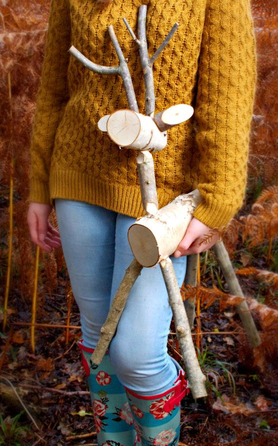 Rustic Deer White Birch Medium 70cm Reindeer by thelogbasket
