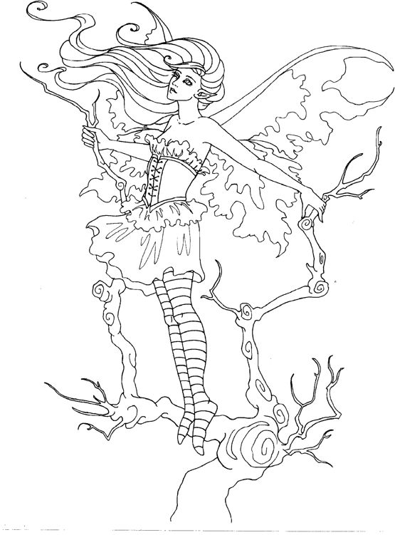Amy Brown Coloring Page Fairy Myth Mythical Mystical Legend Elf Fae Wings Fantasy Elves Faries