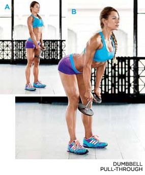 Bodybuilding.com - The Secret To Gorgeous Glutes - EXERCISE 5// DUMBBELL PULL-THROUGH