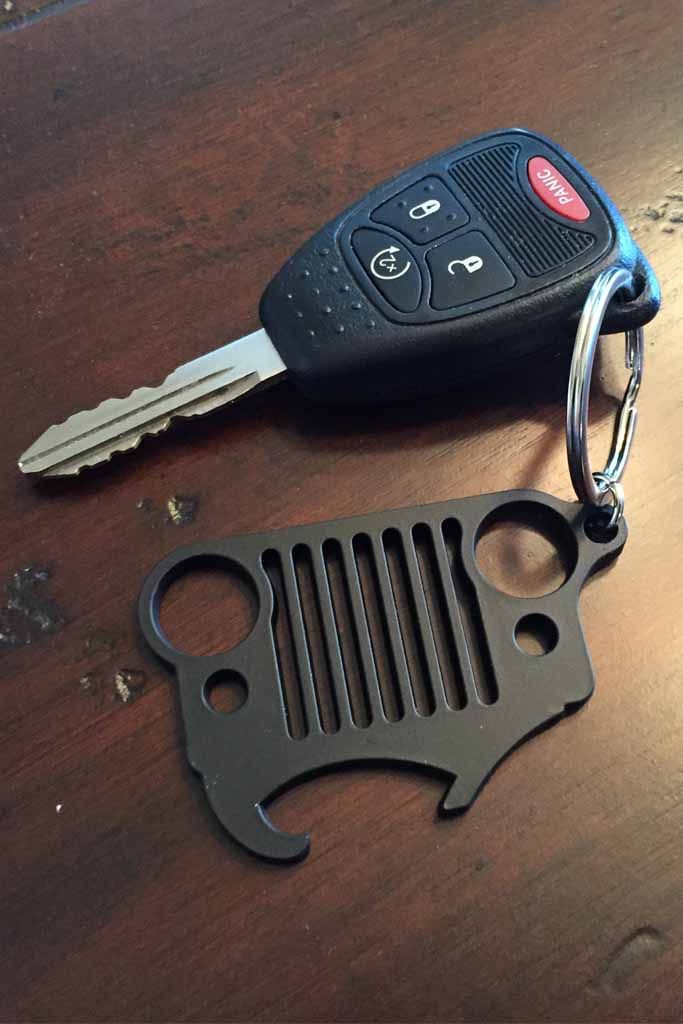 Jeep Beer Can Opener Keychain Black Powder Coated Jeep Keychain Keychain Opener Jeep