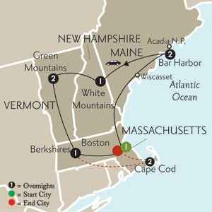 New England with Cape Cod Extension Self-Drive New England Tour  Local Host service in Boston; Destination Guide including maps and detailed driving directions. This Globus Independent Travel tour features preselected hotels.