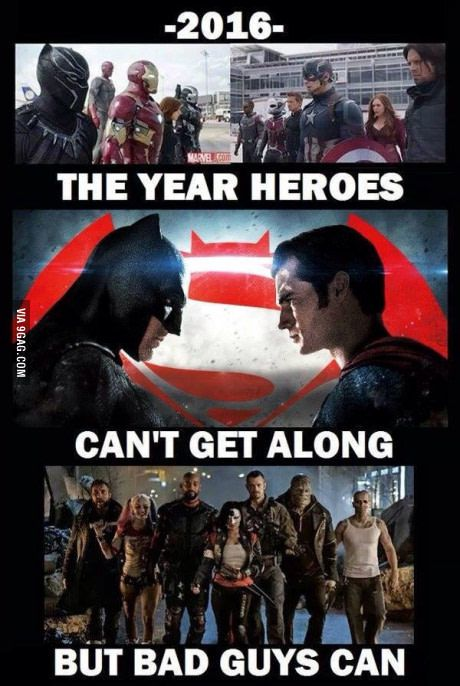 Superheroes can't seem to get along in 2016, but villains can.