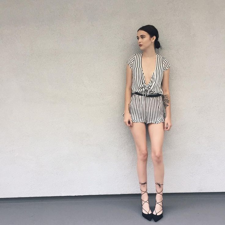 Shop Acacia Brinley's tobi Striped Romper and Topshop Mid-Heel Ghillie Shoes.