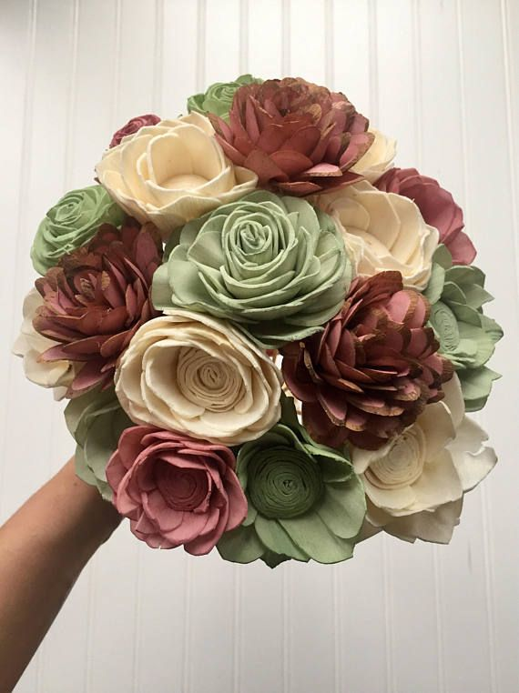 Pink & Pistachio Sola Wood Bouquet || Sola Wood Flowers || Wedding ...