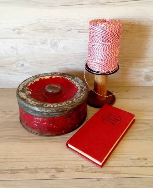Vintage Red Chippy Metal Kitchen Tin Cookie Cake Biscuit Treasures. $25.00, via Etsy.