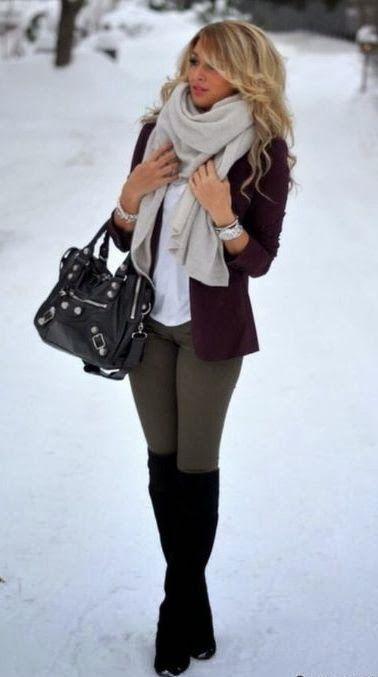 grey skinny pants, black knee high socks or leg warmers with black boots or heels, white shirt, black cardigan or blazer, and poofy ivory wrap around scarf.