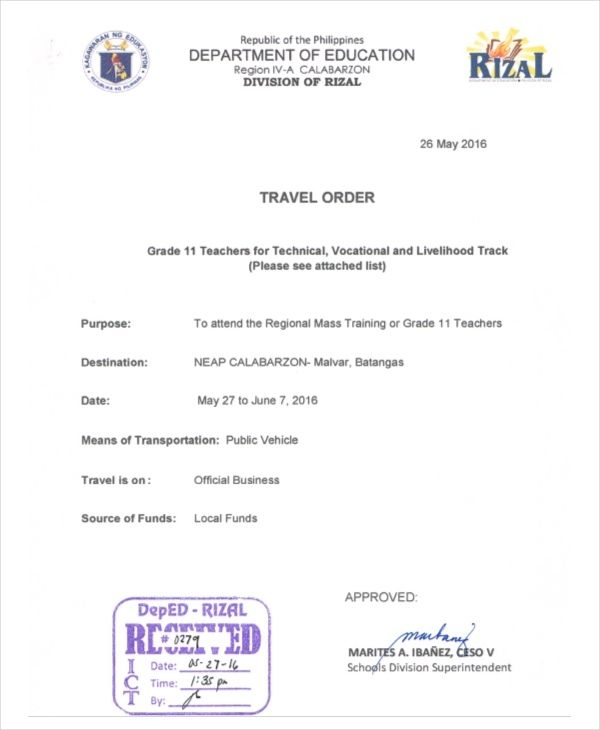 Travel Order Form Deped Ten Quick Tips Regarding Travel Order Form