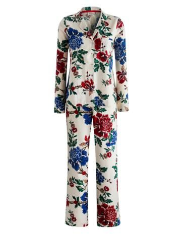 Joules Womens Long Sleeve Pyjama Set, Creme Floral.                     Keep the cold at bay and guarantee yourself a cosy night with this long sleeved brushed cotton pyjama set.