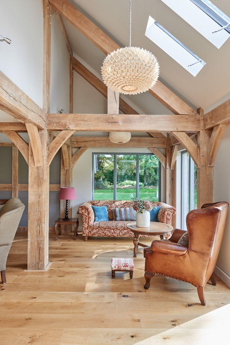 Zeitgenössische Eiche eingerahmt Wohnzimmer # Decken ...