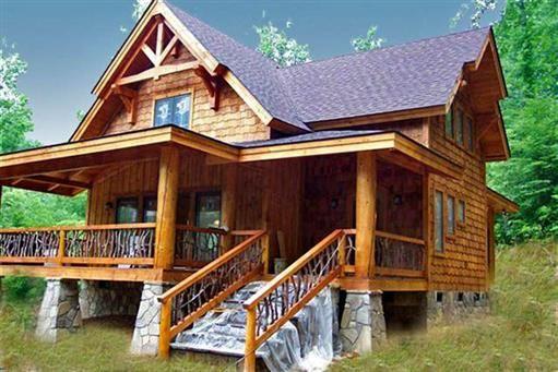 Copperhead camp front elevation natural element homes for Log home design e planimetrie