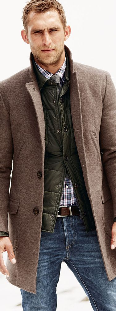 I like the layering... down vests are a perfect winter underlayer!! - Burnell Cucinelli Martin Single Breasted Coat Smart Mens style