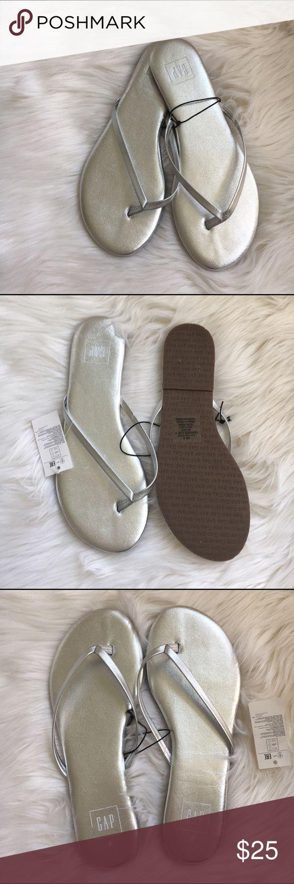 GAP flip flops                           NWOT Silver leather flip flops by GAP New! Authentic 🚫trades GAP Shoes Sandals