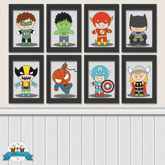 Superhero Digital Art Prints  Printable Art by LilFacesPrintables
