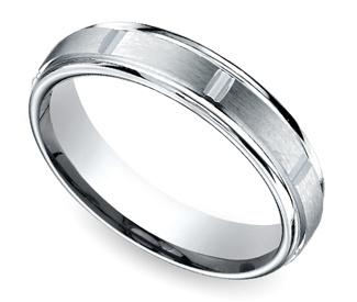 Vertical Grooved Men's Wedding Ring in White Gold