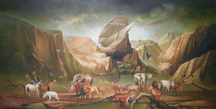 For sale   Noah Ark, repro of Frederick, oil on canvas, 150 x 300 cm